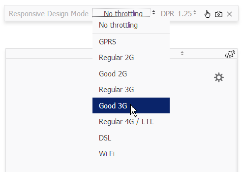 A screenshot of Firefox connection throttling options